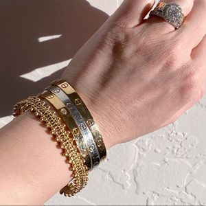 New Lucky Brand Gold Brass Cuff With Brown Stones